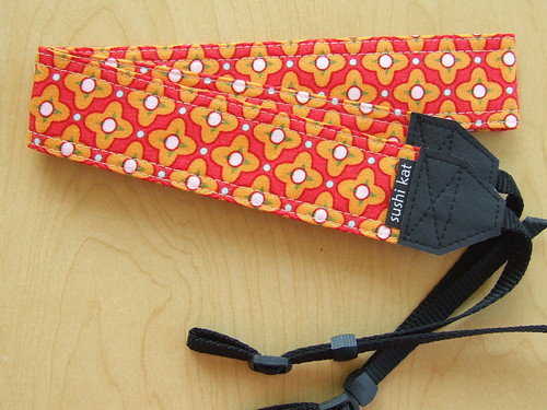 camera strap :: heather bailey's red tiled primrose