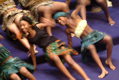 The African American Academy African Dance Troupe were a blur of motion at a Martin Luther King celebration at Mt. Zion Baptist church, 2003. Photo courtesy of the Seattle Municipal Archives.