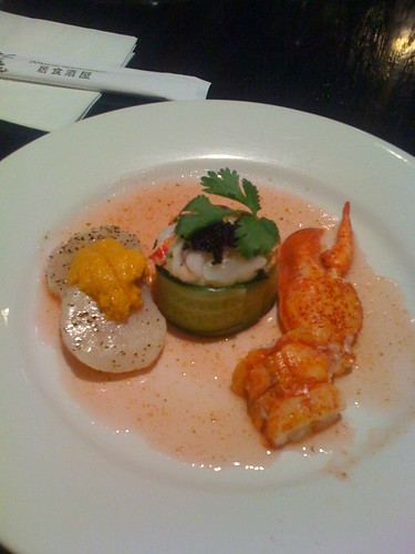 Course 2: Lobster Claw, Seared Scallops w/Uni, Lobster on Mango with Caviar