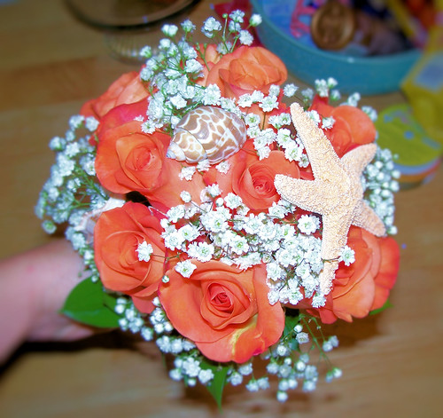 Coral bridesmaid bouquet Closeup 1