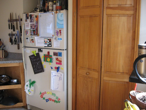 fridge and pantry to right of stove