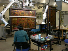 Conservation work on a triptych with scenes from the Apocalypse, Museum no. 5940-1859.