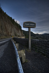 (Sarah.Lynch) Tags: road bridge trees sign washington rocks guardrail hdr columbiarivergorge capehorn hwy14 photomatix