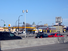 Shell Stations in Montreal: Dcarie Boulevard at Par Street. (Steve Brandon) Tags: urban canada cars church sign geotagged restaurant highway traffic montral quebec montreal basilica fastfood shell frites frenchfries gasstation qubec signage hotdogs autos circulation poutine glise automobiles voitures servicestation petrolstation tmr franchise cdn  fillingstation ctedesneiges  royaldutchshell highway15  decarie  serviceroad shelloil steamies saintjosephsoratory labelleprovince   townofmountroyal  autoroute15 autoroutedcarie dcarieexpressway   shelllogo shellsign loratoiresaintjosephdumontroyal fabricville decarieboulevard  boulevarddcarie  shelloillogo dcarieboulevard  ruepar parstreet dcarieautoroute  pubpar
