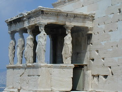 Reproductions of Caryatids on the Erechtheon.  Originals removed to Museum