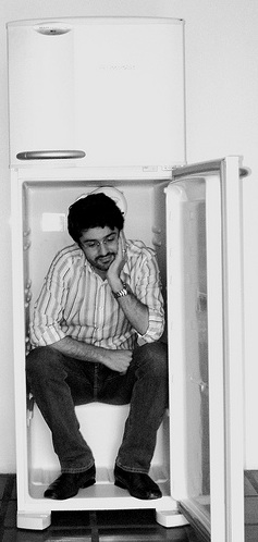 Man in fridge