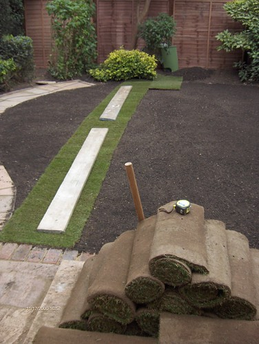 Indian Sandstone Patio and Lawn Image 16