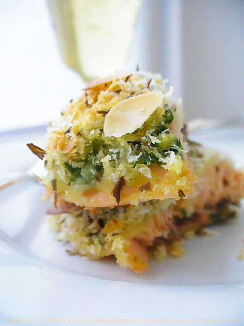 Dill, almond crusted salmon (Showing ingredients)