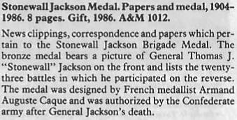 Stonewall Jackson Caque medal info