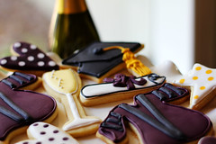 assorted graduation cookies (Elizabeth / LoneStarsandStripes) Tags: cookies hearts stars graduationgown graduationcap champagneglass royalicing