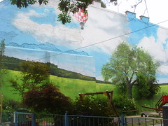 Fake garden walls in Budapest