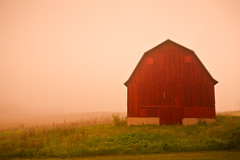 What's Not There (Loren Zemlicka) Tags: red usa fog wisconsin barn rural landscape photography countryside photo image farm country may picture atmosphere single northamerica rutland canonef1740mmf4lusm stoughton 2011 canoneos5d danecounty farmscene lorenzemlicka