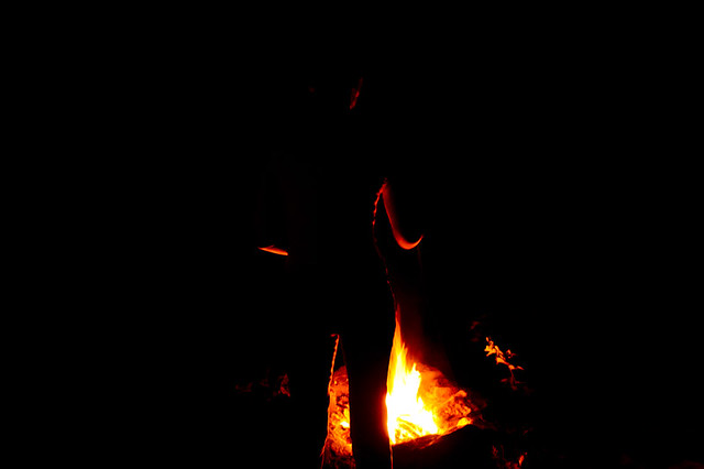 lauren at the campfire