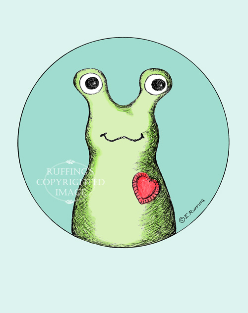 Hug Me Slug drawing by Elizabeth Ruffing, first attempts at digital coloring