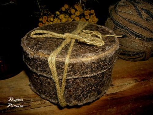 brown primitive hat box