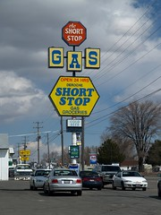 The Short Stop (Phydeaux460) Tags: sign neon gas gasstation groceries shortstop blackfootidaho