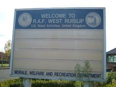 RAF West Ruislip says the final farewell. (routemaster_fan) Tags: london unitedstates marines airforce usnavy base middlesex mwr rafwestruislip miltaryinstallation
