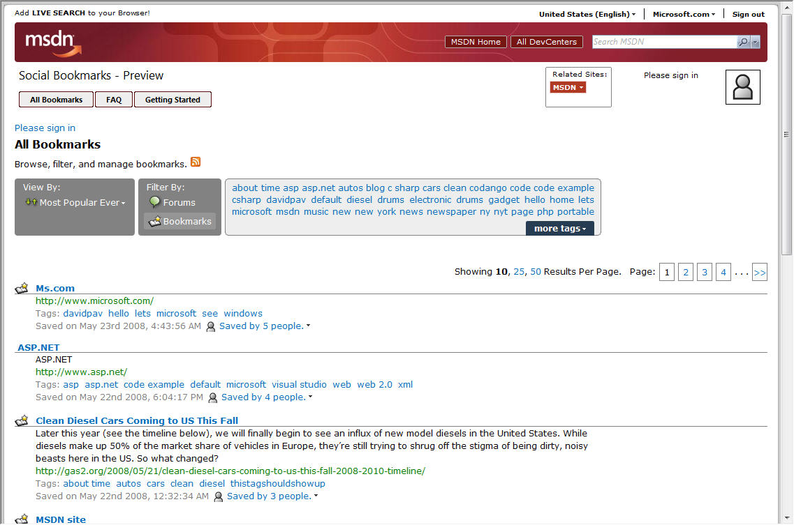 MSDN Social Bookmarks Preview