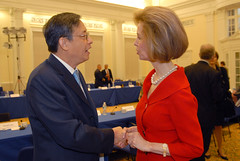 China Earthquake: Ambassador Zhou Wenzhong and Bonnie McElveen Hunter