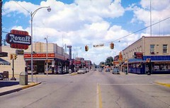 Downtown Muskegon Heights 1960s (Eridony) Tags: downtown postcard pharmacy woolworth intersection 1960s broadwayavenue drugstore muskegon rexall muskegonheights fritzdrugs