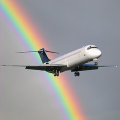 Rainbow Landing (Heaven`s Gate (John)) Tags: sky color colour topf25 wow rainbow aviation flight creative dramatic aeroplane landing imagination multicolor multicolour aeronautical 500x500 50faves 10faves 25faves johndalkin heavensgatejohn rainbowlanding