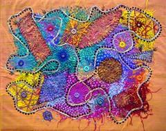 Geometrics & Shisha (Karen Cattoire) Tags: original abstract art colorful shisha handmade embroidery originalart creation fabric fiberart textileart tissu abstrait textiledart karencattoire fibretextile arttexilte