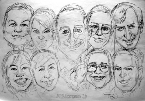 Group caricatures for JP Morgan pencil sketch