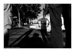 Humpf ! (Hughes Lglise-Bataille) Tags: street shadow blackandwhite bw motion blur paris france car silhouette crossing 2008 xing