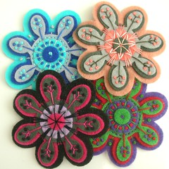 EMBROIDERED FLOWER BROOCHES (APPLIQUE-designedbyjane) Tags: new flower design pin brooch kitsch felt boho corsage embroidered