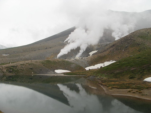 Sugatami-ike reflecting Asahi's thermal vents