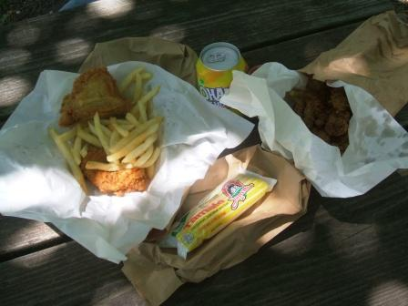 Lunch: 3-pc chicken, livers, fries, lemonade