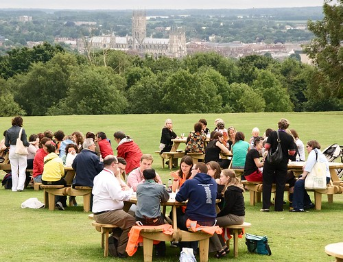 Spouses, staff, and stewards have lunch with a view of Canterbury Cathedral. ACNS/Gunn