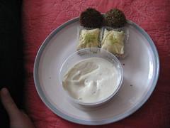symmetrical dinner (emilyrosewhite) Tags: food hummus baklava falafal