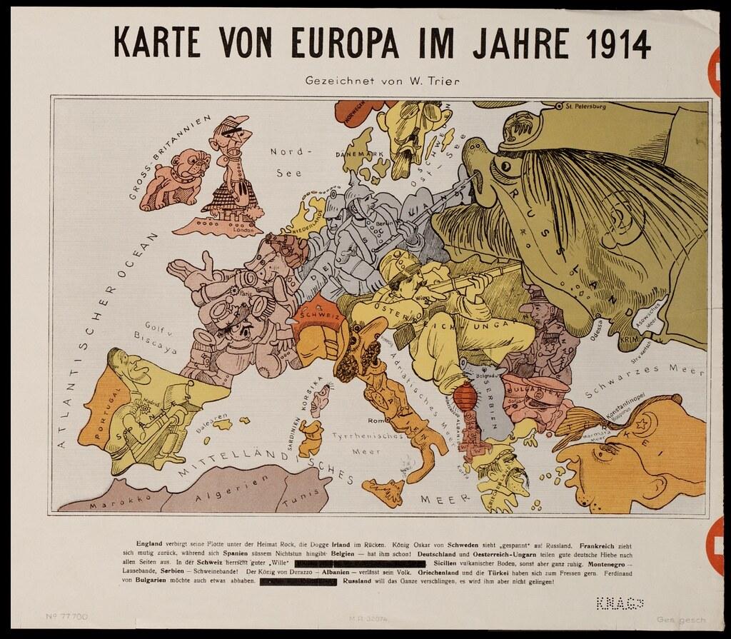 Karte von Europa im Jahre 1914