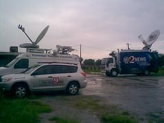News Crews Wait for Obama