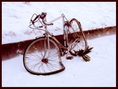 Salvador's Dali 'Persistence of (cycling) memory' (_neona_) Tags: winter snow art smile bike bicycle race photoshop suomi finland relax fun nikon funny ray break ride time experiment coolpix salvador melt dali effect extraordinary kouvola tyred anawesomeshot goldstaraward