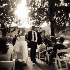 the happy couple by holga (manyfires) Tags: bridge wedding film groom holga toycamera marriage trojanpark portraitshowcase