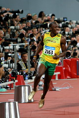 Bolt just after victory