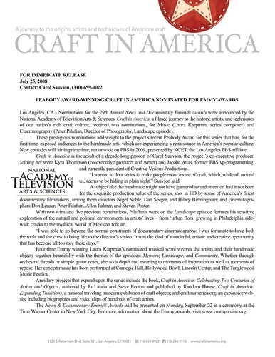 Craft In America nominated for an Emmy Awards!