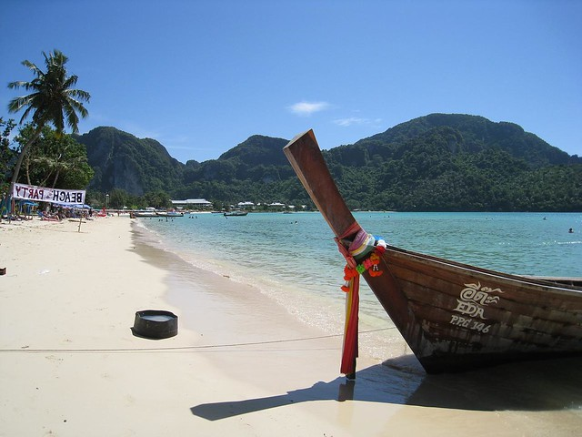 The main beach on Koh Phi Phi Don, one of many islands covered in the Thailand travel guide.