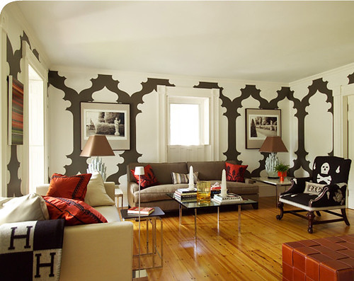 red orange brown white modern skull design paint graphic interior livingroom moorish walls decor hermes modtrad