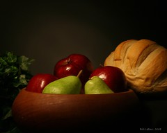 Bowl of Fruit and Bread (bill.lepere) Tags: bread pears bowl flashlight apples picnik minimaglite onlythebestare classicstilllifeart novaphoto blepere