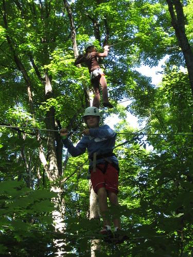 Carter tackles the tightrope at Arbraska, La Forêt des Aventures, in Rigaud, Quebec