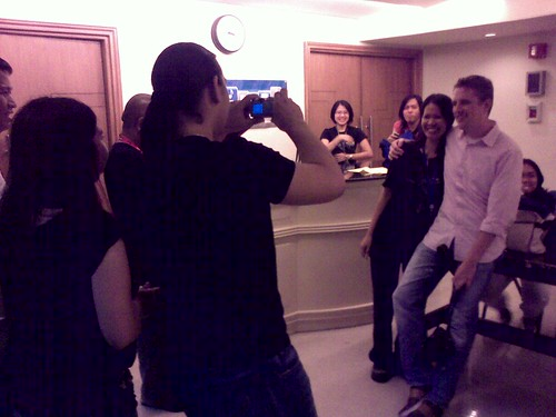 Fans having their photos taken with Mr. WordPress