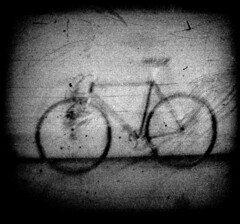 Bicycle (efo) Tags: bw bike bicycle grain lofi scratches mycro hitcamera filmabuse 14x14mm 175mmrollfilm no00rollfilm respooledfomanpan200