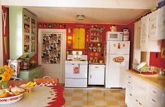 collecting style vintage kitchen (lorryx3) Tags: red green kitchen yellow vintage kitsch collection stuff 50s clutter redkitchen bookscan kitschkitchen