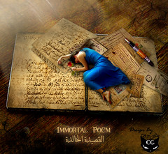 Immortal Poem (  T_ !  ) Tags: blue woman flower girl rose pen cat death book design poem sad papers cry immortal             angelcagestock