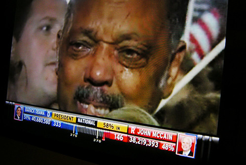Screen Shot of Jesse Jackson on Election Night in Grant Park