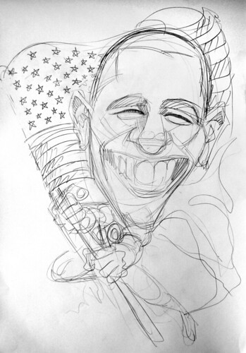 Politician caricature of Barack Obama  pencil sketch