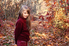 Anastasiya (jnm_ua) Tags: autumn trees light red portrait fall colors girl beauty leaves sunshine yellow forest canon outdoors dof bokeh path naturallight ukraine autumncolors portraiture glade shineon 333views anastasiya jnm memorycornerportraits forestvista